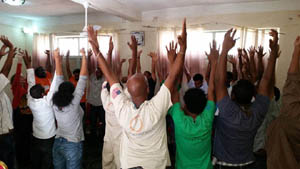 Ethiopia staff stretching